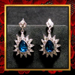 Blue Crystal Rhinestone Dangle Earrings #747
